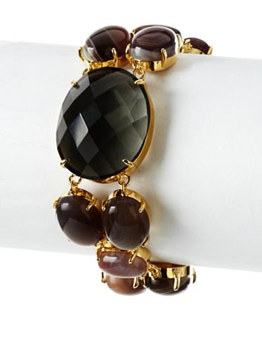 Courtney Kaye Agate Volcanic Gravel Bracelet, Gold