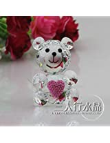 43*60mm Clear Crystal Teddy Bear With Pink Love For Daughter Gifts Safest Transportation