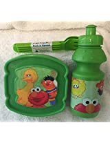 4 Pc Toddler Sesame Street Characters Lunch Kit (Big Bird Lunch Set (green))