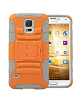S5 Case Galaxy S5 Case ULAK Samsung Galaxy S5 Case - Shockproof Heavy Duty Protection Hybrid Rugged Samsung Galaxy S5 Case Silicone Dual Layer Holster S5 Cover Case for Galaxy S5 with Built-in Rotating Kickstand and Belt Swivel Clip (Orange + Gray)