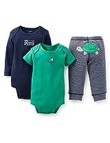 Carter's Boys 3 Piece Little Speedster Turtle Set with Short Sleeve Bodysuit, Long Sleeve Bodysuit, and Applique Pant - 12 MONTHS|18 MONTHS|24 MONTHS|3 MONTHS|6 MONTHS|9 MONTHS|NEWBORN - Navy