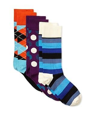 Happy Socks Women's Multi Socks (3 Pairs) (Orange/Purple/Blue)