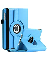 SAVEICON iPad Mini / Mini Retina / Mini 3 Case (Released 2014) - Baby Blue PU Leather Case 360 Degree Swivel Rotating Magnetic Lychee Folio Case Cover Stand for Apple iPad Mini 7.9'' Tablet with Sleep and Wake Function