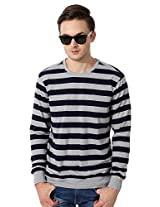Allen Solly Navy And Grey Striped Full Sleeve T Shirt