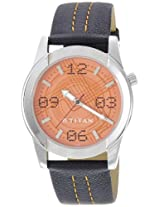 Titan Tagged Analog Orange Dial Men's Watch - 1588SL03
