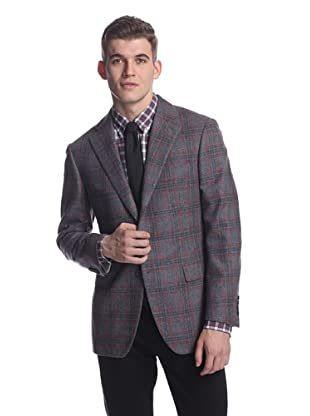 Nikky Men's Windowpane Jacket (Charcoal/Red Overcheck)