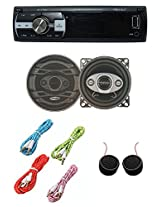 Worldtech Onmca_417 Single Din Wt - 7103U With 4 Inch Speakers Set With 4 Aux Wire & Tweeter
