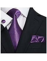 Landisun 43N Small Grid Mens Silk Neck Tie Set Purple, 3.25