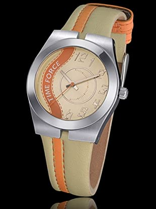 Time Force TF2959L12 - Reloj de Señora con correa de piel beige / naranja