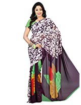 Admyrin Purple Georgette Printed Saree with Green Blouse Piece