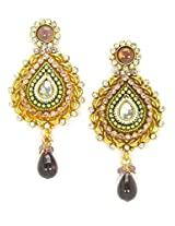 Orne Jewels Gold Plated Dangle & Drop Earrings for Girls (Gold)