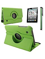 """RUBAN 360 Degress Rotating Stand PU Leather Case Cover / Screen Protector / Stylus for Samsung Galaxy Tab 2 7"""" Tablet P3100 (GREEN)"""