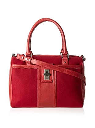 Charlotte Ronson Women's Wool Panel Satchel, Red