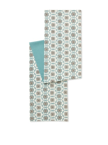 Handmade Interiors Iznik Hand Screened Printed Table Runner (Duck Egg Blue / Chocolate Brown)