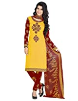 Jevi Prints Gold & Red Unstitched Art Crepe Dress Material with Dupatta