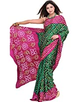 Exotic India Bandhani Tie-Dye Saree from Jodhpur with Embroidery in Golden Threa - Color Green And PurpleColor Free Size