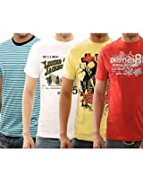 Funktees Cotton Mens Round Neck Small Size T-shirt - Pack of 4