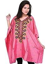 Exotic India Bubblegum-Pink Short Kashmiri Kaftan with Hand-Embroidered B - Pink