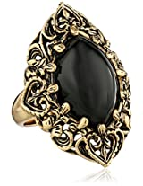 """Barse """"Guinevere"""" Ornate Onyx Ring, Size 7"""