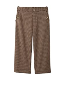 Velvet & Tweed Boy's Pull-On Pant with Button Pockets (Brown Stripes)