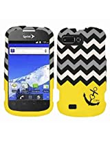 Cell Armor Snap-On Cover for ZTE N850 - Retail Packaging - Black Anchor and Black/White/Gray Chevron on Yellow