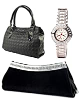 Fidato Combo Of Women Handbag Clutch And Watch FD253