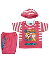 Boogie Woogie Bowo-7640-P Boy's Cotton Top & Bottom Set - (Pink)