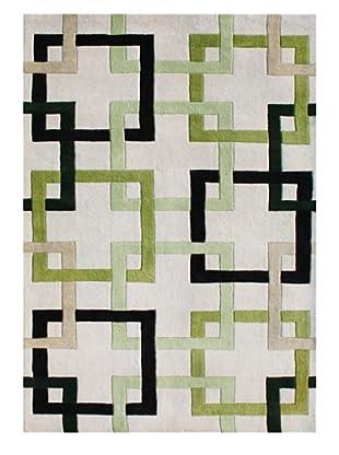 Horizon Geometric Lines Rug (Beige/Green/Black)