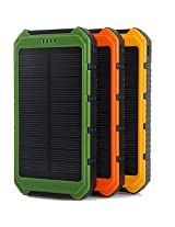 Solar Panel Charger 10000mAh 3.5A Dual-Port Portable Charger Backup External Battery Pack with Fast Charging Technology for iPhone 6 plus 5S 5C 5 4S 4, iPad Air, Other iPads, iPods, Samsung Galaxy S4, S3, S2, Note 3, Note 2, Most Kinds of Android Smart Phones and Tablets, Gopro Camera and More Other Devices(Orange)