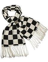 Dahlia Men's Winter Merino Wool Blend Scarf - Buffalo Check - Black