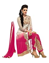 Pink colour unstiched salwar suit