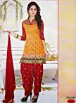 Online Shopping For Orange Chanderi Cotton Punjabi Dress Material