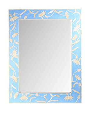Jamie Young Bone Inlay Mirror, Blue/Ivory