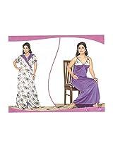 Indiatrendzs Women's Sexy Hot Nighty White 2pc Set Bedroom Sleepwear Freesize