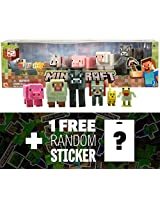 Animal Mobs 6 Mini Figure Pack: Minecraft Mini Fully Articulated Action Figure Series #2 + 1 Free Official Minecraft Mini Sticker Sheet Bundle
