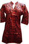 DESIGNER COTTON KURTI ( 34 SIZE)-RED/BLK