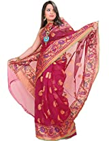 Exotic India Lilac-Rose Banarasi Saree with Woven Paisleys and Wide Borde - Pink