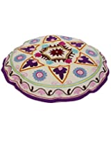 Attractive Round White Ottoman Cover Cotton Floral Embroidered Pouf Cover By Rajrang