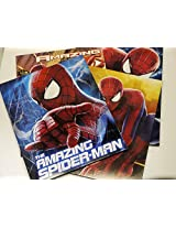 Set of 4 - The Amazing Spider-Man 2 - Portfolio Folders School Supplies - 3 Hole Punched 2 Pocket Fo