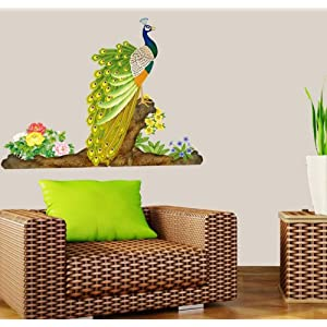 Createforlife Home Decoration Art Vinyl Mural Wall Sticker Decal a Proud Peacock Decal Paper