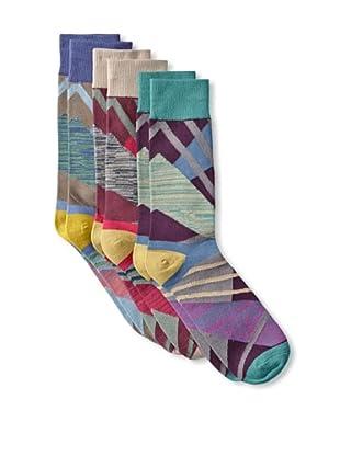 Florsheim by Duckie Brown Men's Multi Pattern Socks (3 Pairs) (Sea Green/Mushroom/Deep Sky)