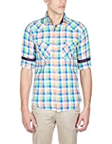 GHPC Men's 100% Cotton Casual Shirt(PS80337_42_Orange:Green)