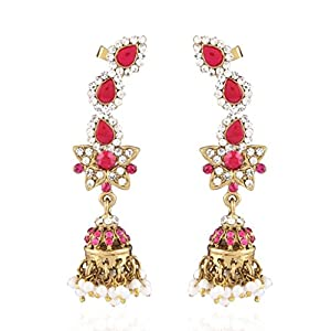 I Jewels Traditional Gold Plated Meenakari Ear Cuffs With Jhumkis For Women (Rani/ Dark Pink) (E2179Q)