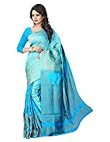 Prem Janki Fashion Women's Banarasi Silk And Jacquard Saree With Blouse Piece (Sky Blue)