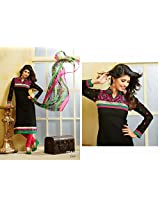 Fabboom New Black And Pink Designer Cotton Straight Cut Suit With Long Sleeve