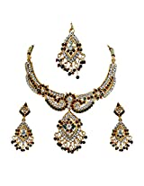 Alisha: Red, Green & White sparkling crystal kundan polki fashion jewellery set