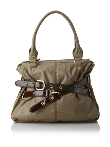Melie Bianco Women's Sabrina Double Belted Satchel (Taupe)