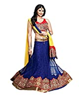 Anvi Creations Net Three Piece Lehenga Choli (Blue Maroon_Free Size)