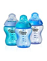 Tommee Tippee Closer to Nature Colour My World Feeding Bottles, Boy, 9 Ounce, 3 Pack