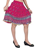 Exotic India Midi-Skirt With Printed Flowers and Golden Painted Border - Color Raspberry SorbetGarment Size Free Size